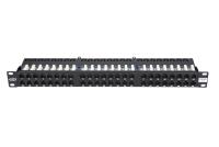 """Panel krosowy 19"""" BKT , 48xRJ45, nieekranowany, kat. 5e, 1U, czarny, organizator kabli"""