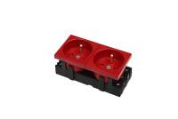 Gniazdo BKT 2x(2P+T) 4 MOD M45 DATA - czerwone