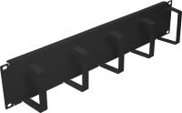 """Organizator kabli BKT 19"""" - z metalowymi uszami RAL 7021 czarny 1U"""