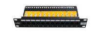 """Panel krosowy 10"""" BKT , 12xRJ45, nieekranowany, kat. 6, 1U, czarny, organizator kabli"""