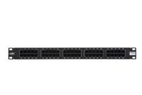 "Panel krosowy 19"" BKT , ISDN, 50xRJ45, 1U, czarny, organizator kabli"