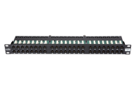 """Panel krosowy 19"""" BKT , 48xRJ45, nieekranowany, kat. 6, 1U, czarny, organizator kabli"""